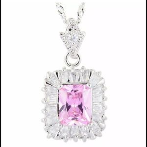 Jewelry - 🆕 18 kt white gold plated pink sapphire necklace